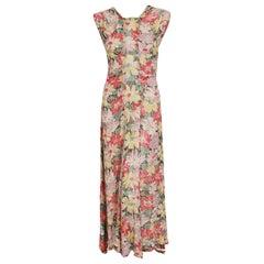 Vintage 1930's Colorful Floral Print Lamé Sleeveless Bias-Cut Back Bow Dress