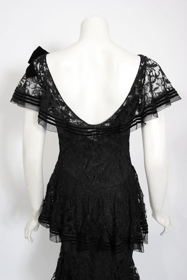 Vintage 1930's Couture Black Lace Flutter Velvet Bow Tiered Swirl Bias-Cut Gown For Sale 6