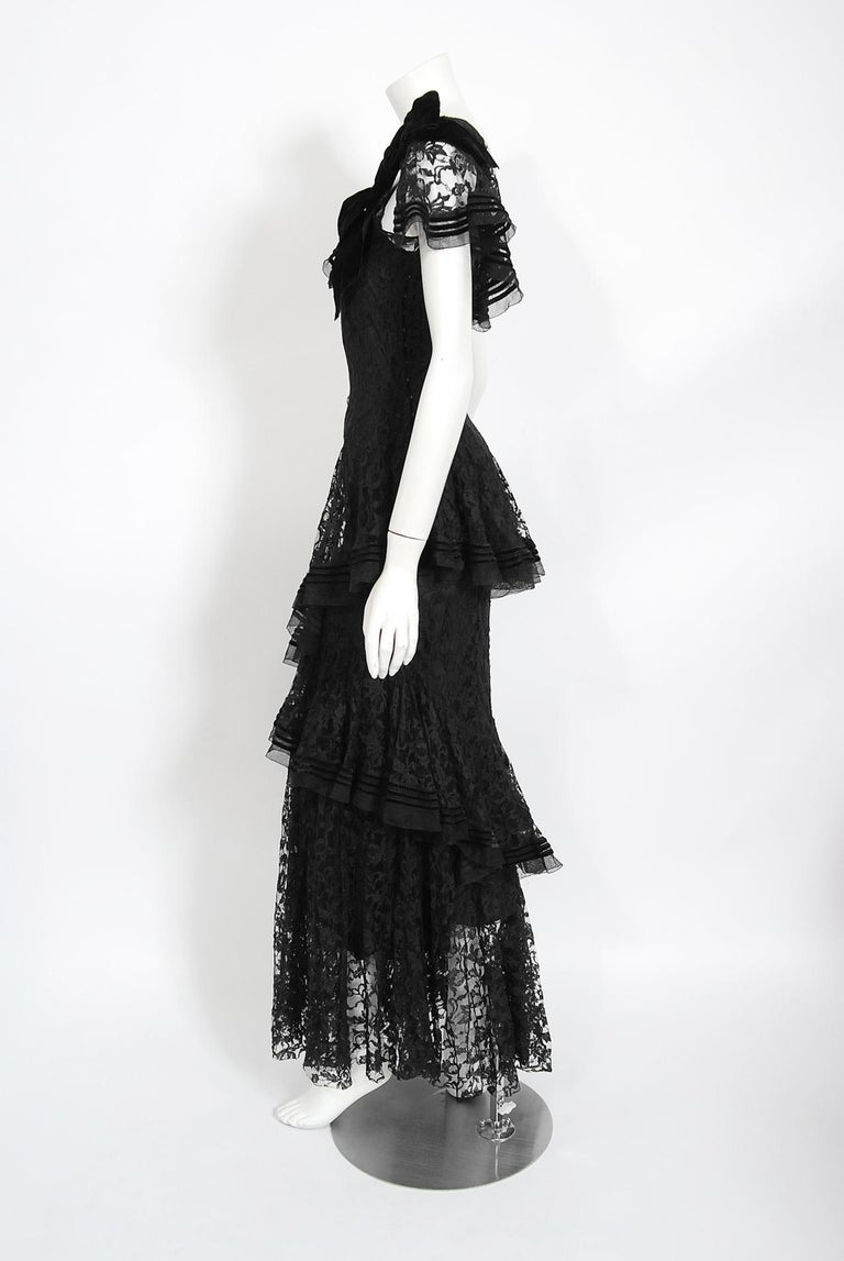 Vintage 1930's Couture Black Lace Flutter Velvet Bow Tiered Swirl Bias-Cut Gown For Sale 3