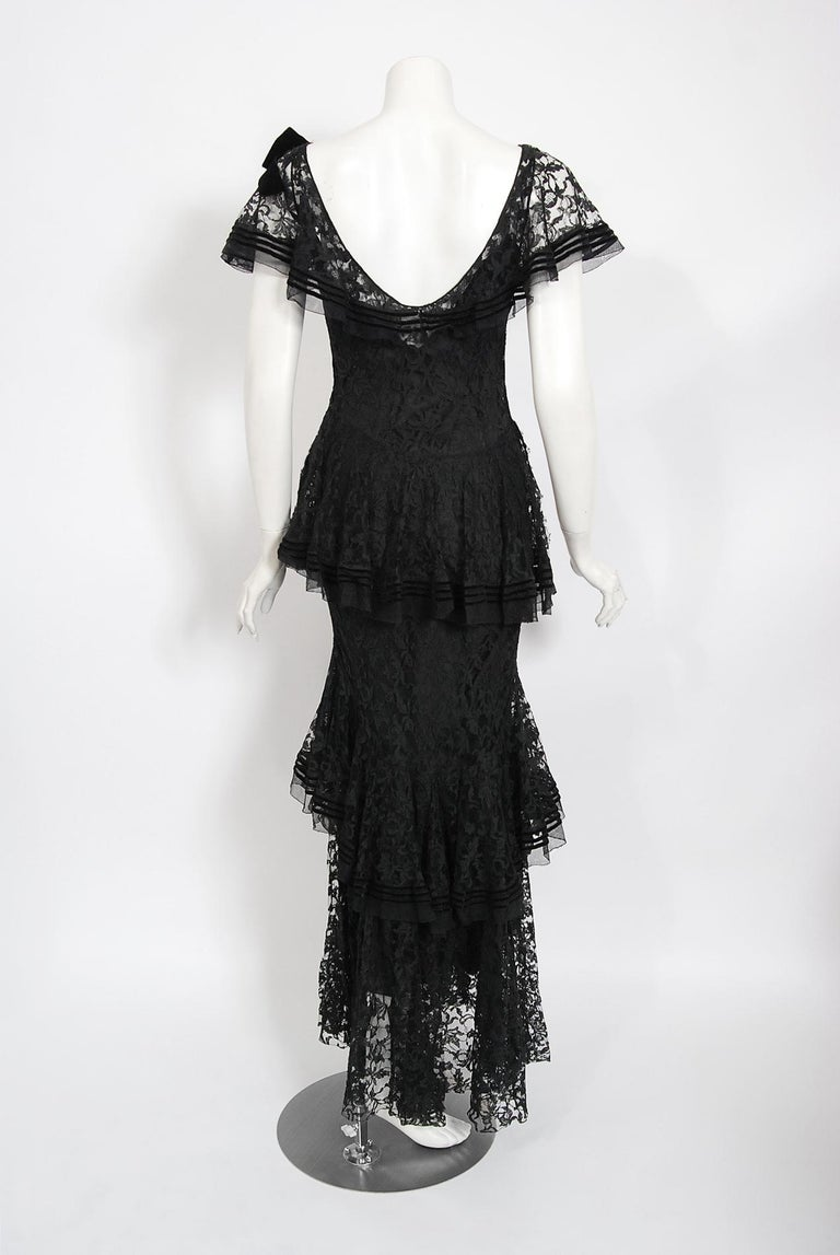 Vintage 1930's Couture Black Lace Flutter Velvet Bow Tiered Swirl Bias-Cut Gown For Sale 5