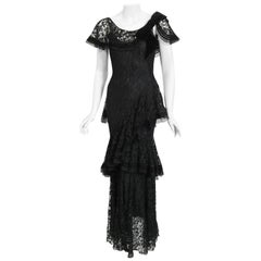 Vintage 1930's Couture Black Lace Flutter Velvet Bow Tiered Swirl Bias-Cut Gown