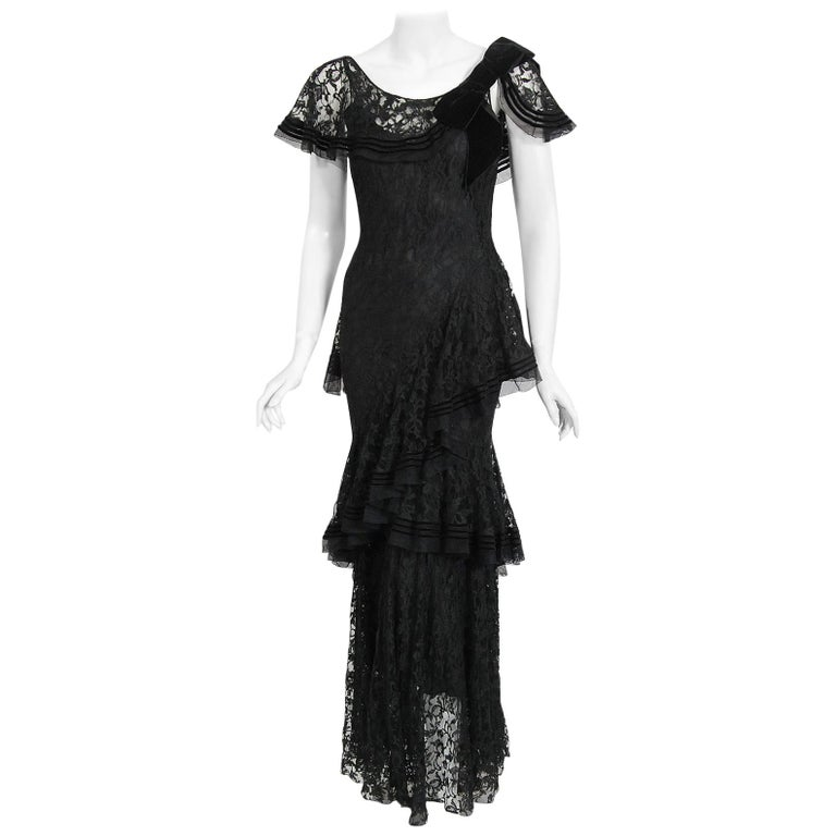 Vintage 1930's Couture Black Lace Flutter Velvet Bow Tiered Swirl Bias-Cut Gown For Sale