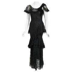 Vintage 1930's Couture Black Lace Flutter Velvet Bow Tiered Swirl Bias-Cut Gown