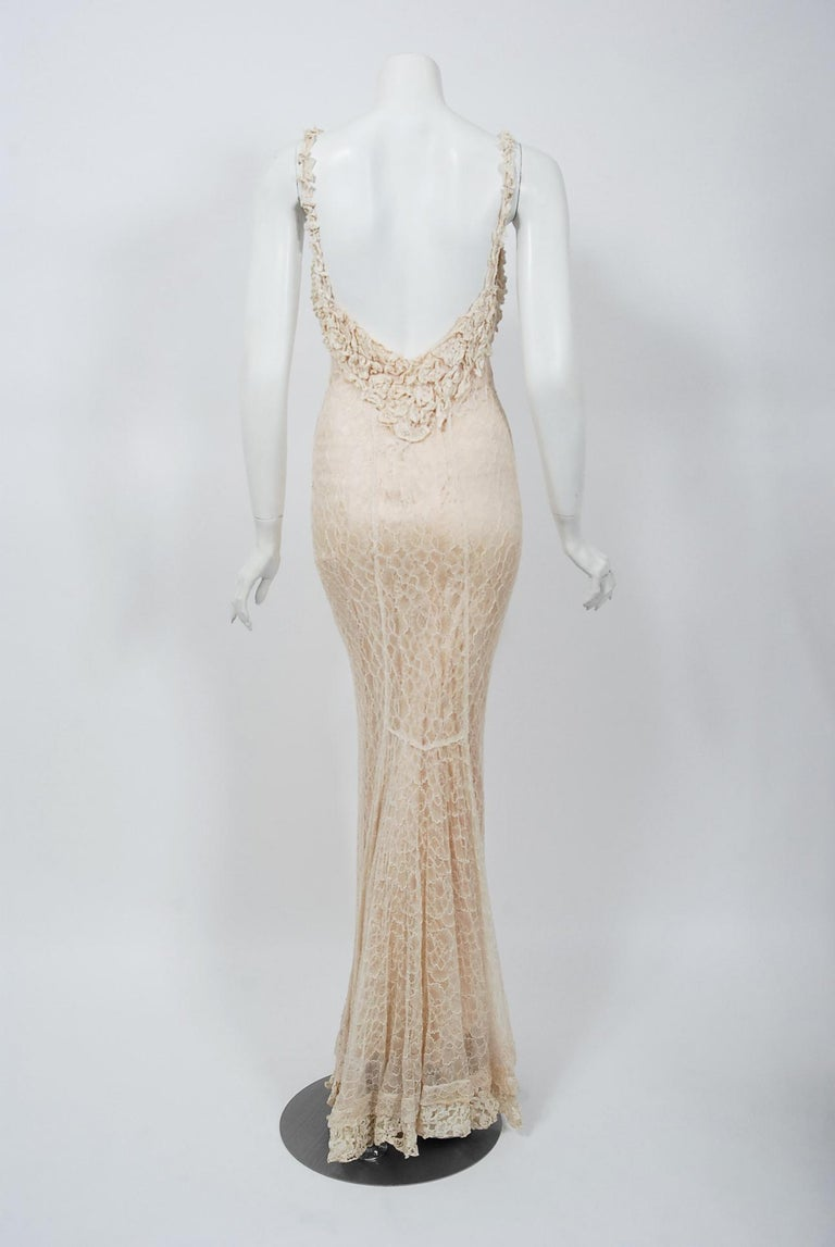 Vintage 1930's Couture Ivory Lace Nude Illusion Backless Bias-Cut Gown & Jacket For Sale 5