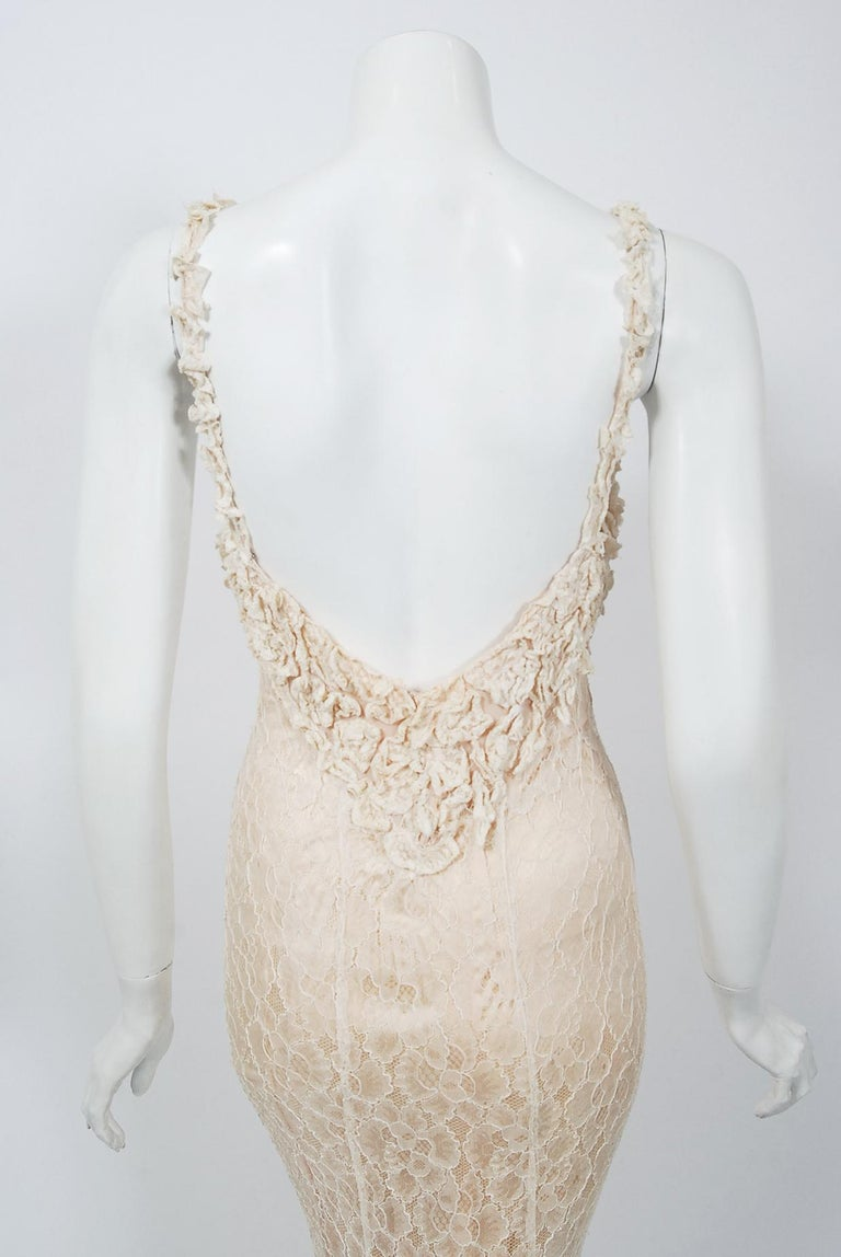 Vintage 1930's Couture Ivory Lace Nude Illusion Backless Bias-Cut Gown & Jacket For Sale 6