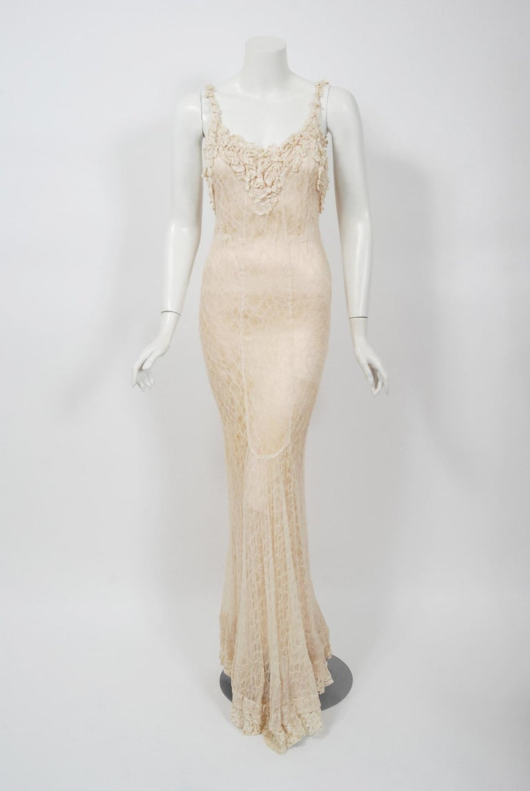 Beige Vintage 1930's Couture Ivory Lace Nude Illusion Backless Bias-Cut Gown & Jacket For Sale