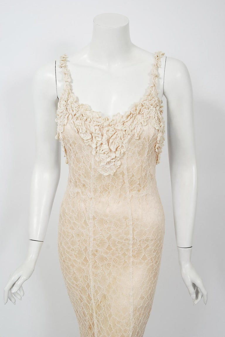 Vintage 1930's Couture Ivory Lace Nude Illusion Backless Bias-Cut Gown & Jacket In Fair Condition For Sale In Beverly Hills, CA