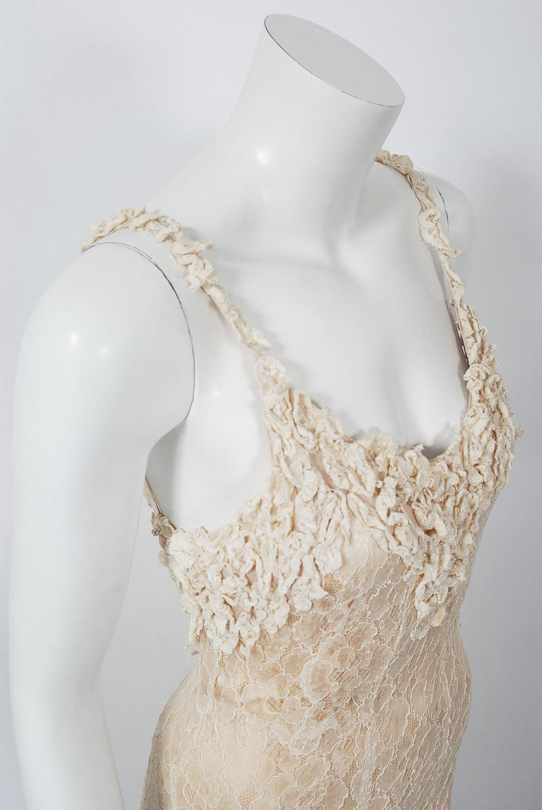 Women's Vintage 1930's Couture Ivory Lace Nude Illusion Backless Bias-Cut Gown & Jacket For Sale