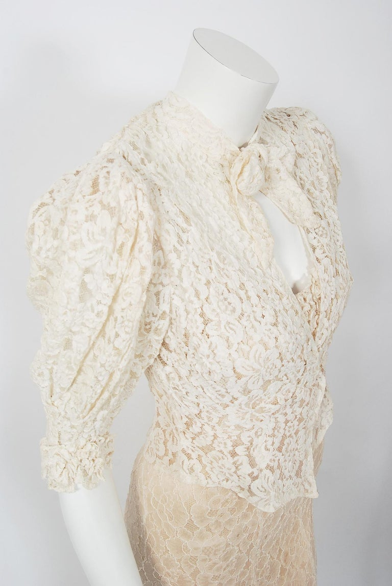 Vintage 1930's Couture Ivory Lace Nude Illusion Backless Bias-Cut Gown & Jacket For Sale 1