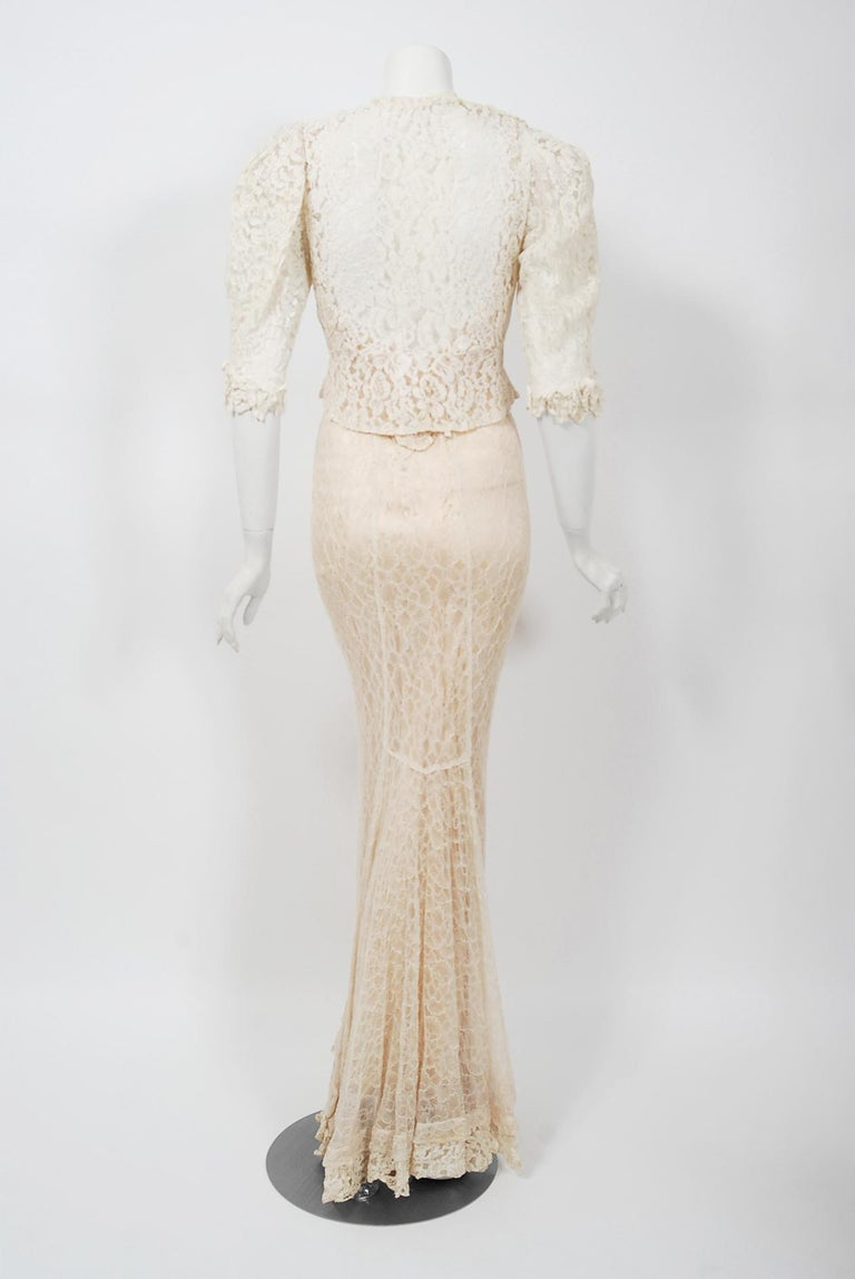 Vintage 1930's Couture Ivory Lace Nude Illusion Backless Bias-Cut Gown & Jacket For Sale 3