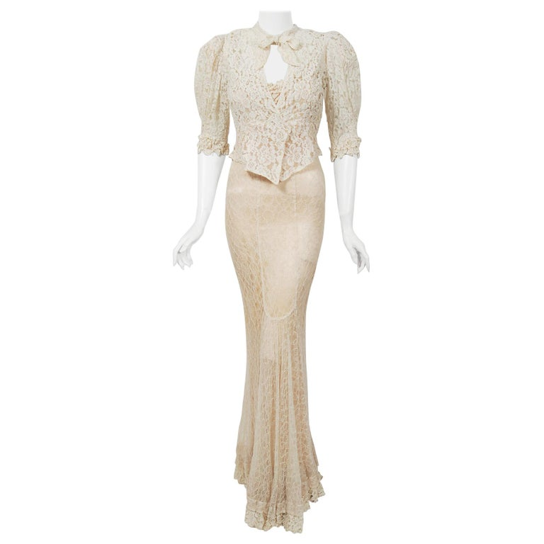Vintage 1930's Couture Ivory Lace Nude Illusion Backless Bias-Cut Gown & Jacket For Sale