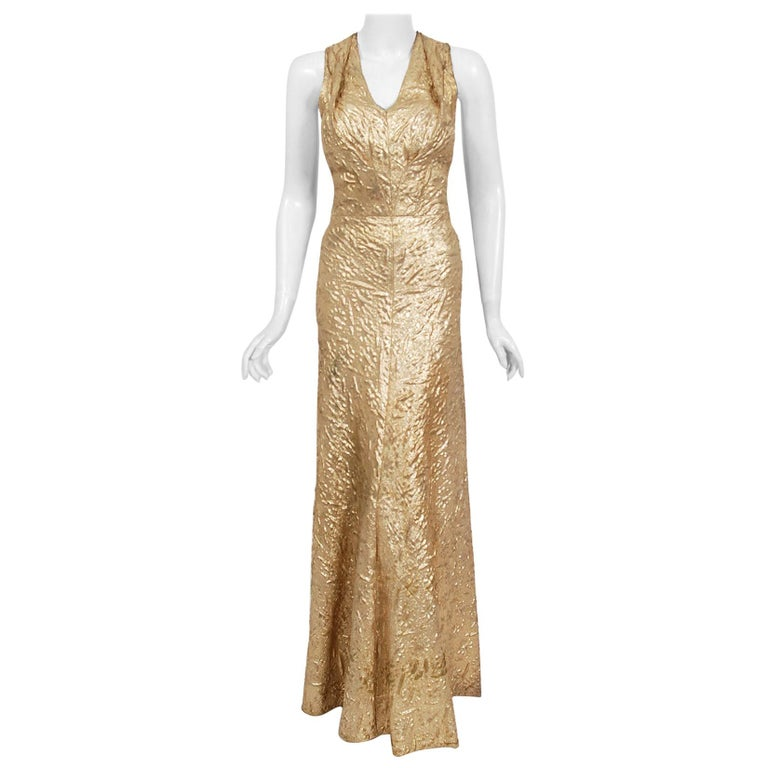 Vintage 1930's Couture Metallic Gold Textured Lamé Backless Bias-Cut Gown For Sale
