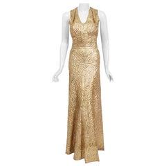 Vintage 1930's Couture Metallic Gold Textured Lamé Backless Bias-Cut Gown
