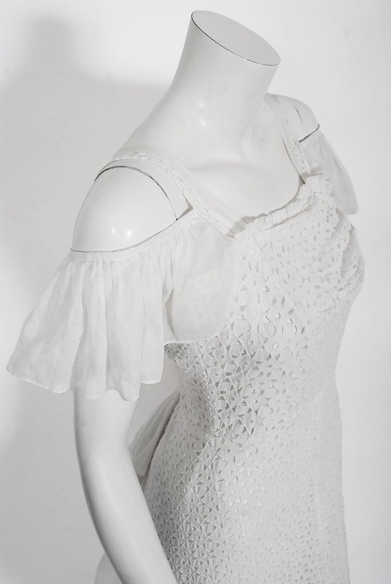 Gray Vintage 1930's Crisp-White Eyelet Organza Off-Shoulder Ruffle Bustle Bridal Gown For Sale