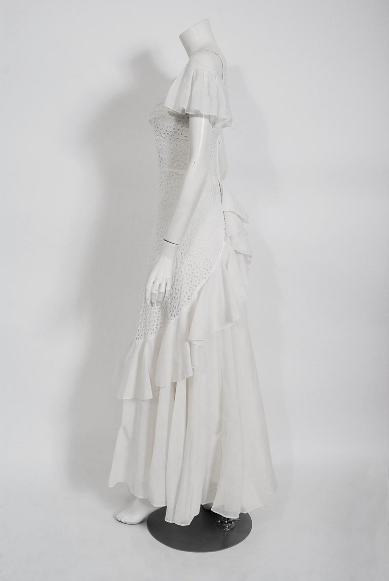 Women's Vintage 1930's Crisp-White Eyelet Organza Off-Shoulder Ruffle Bustle Bridal Gown For Sale