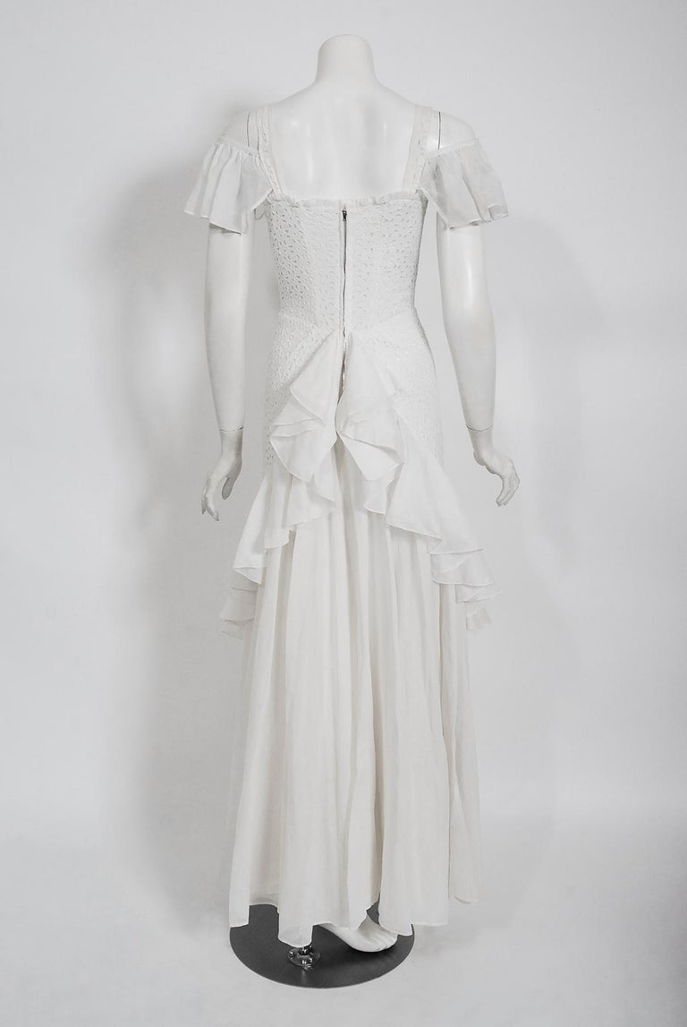 Vintage 1930's Crisp-White Eyelet Organza Off-Shoulder Ruffle Bustle Bridal Gown For Sale 2