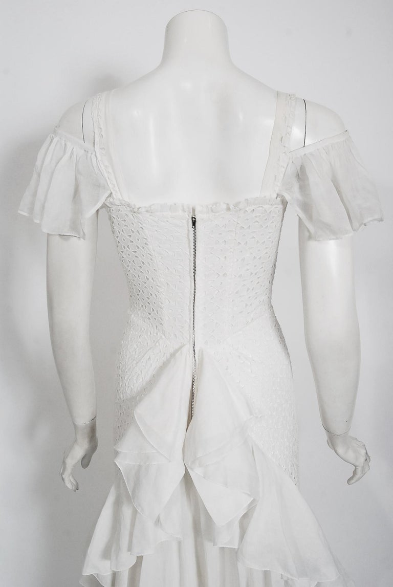Vintage 1930's Crisp-White Eyelet Organza Off-Shoulder Ruffle Bustle Bridal Gown For Sale 3