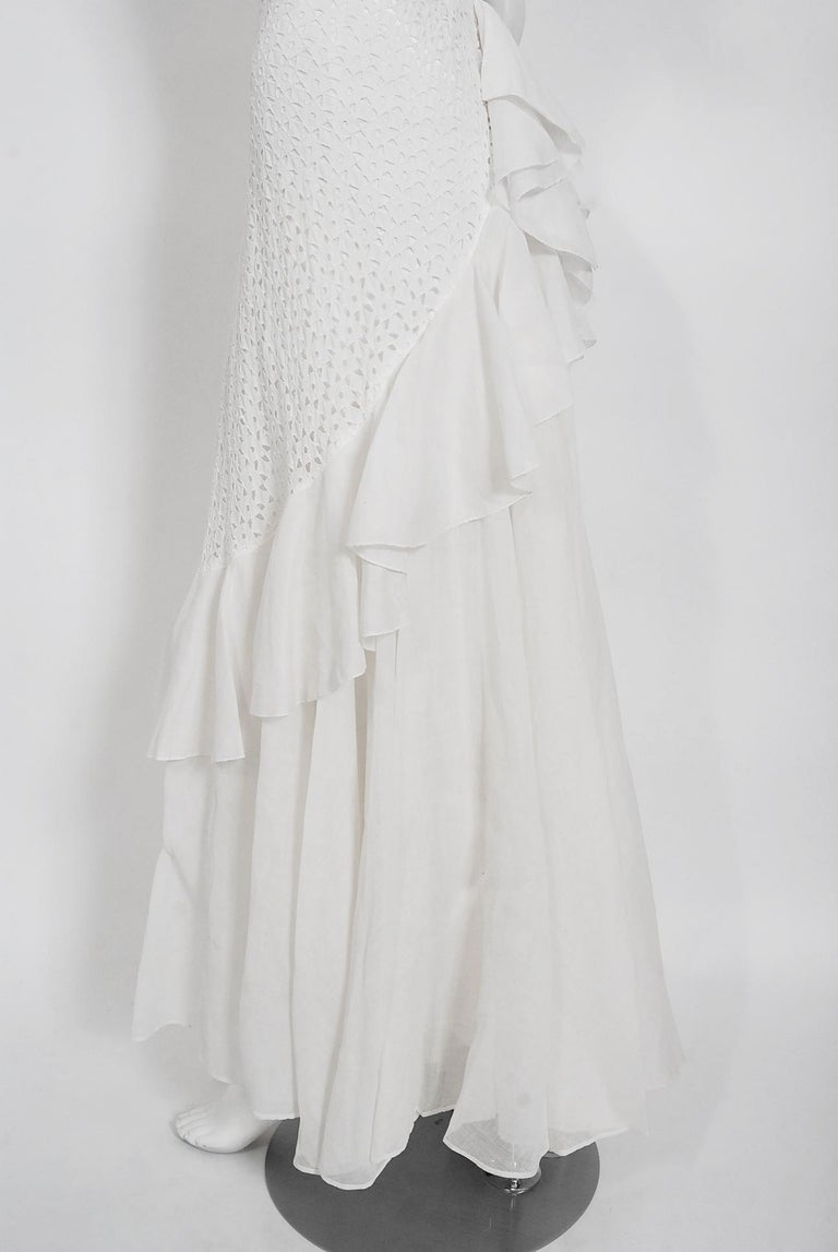 Vintage 1930's Crisp-White Eyelet Organza Off-Shoulder Ruffle Bustle Bridal Gown For Sale 4
