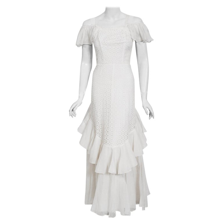 Vintage 1930's Crisp-White Eyelet Organza Off-Shoulder Ruffle Bustle Bridal Gown For Sale