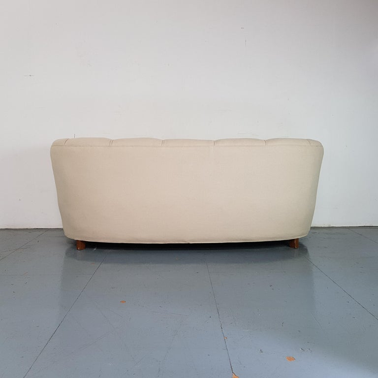 Upholstery Vintage 1930s Danish Banana Sofa in Cream / off White For Sale