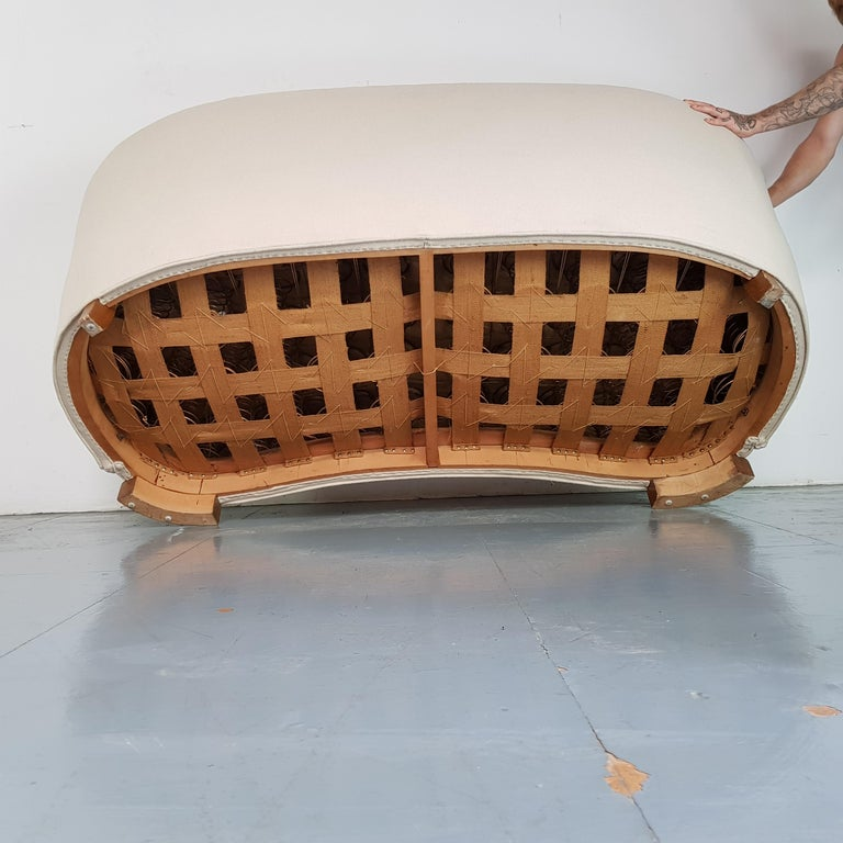Vintage 1930s Danish Banana Sofa in Cream / off White For Sale 1