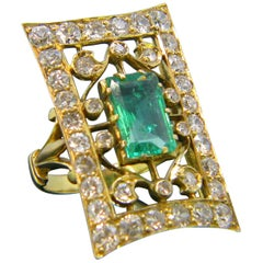 Vintage 1930s Emerald Diamonds Yellow Gold Ring