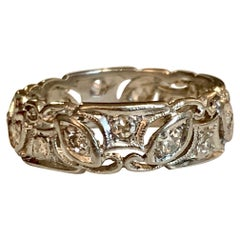 Vintage 1930s European Cut and Single Cut Diamond Platinum Ring