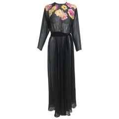 Vintage 1930s Floral Print Bias Cut Black Chiffon Maxi Dress