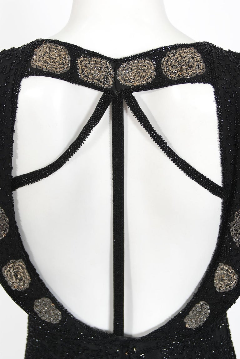 Vintage 1930's French Couture Beaded Black Silk Flutter Sleeve Open-Back Dress   For Sale 8