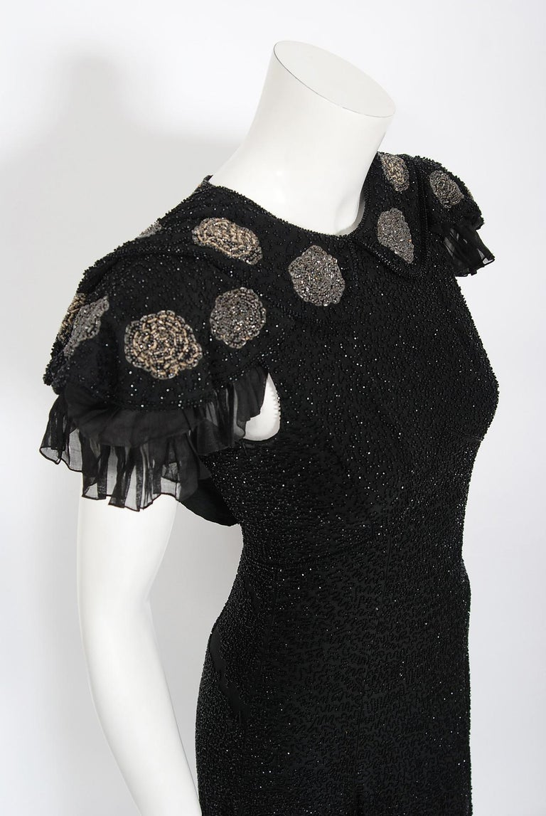 Vintage 1930's French Couture Beaded Black Silk Flutter Sleeve Open-Back Dress   In Good Condition For Sale In Beverly Hills, CA