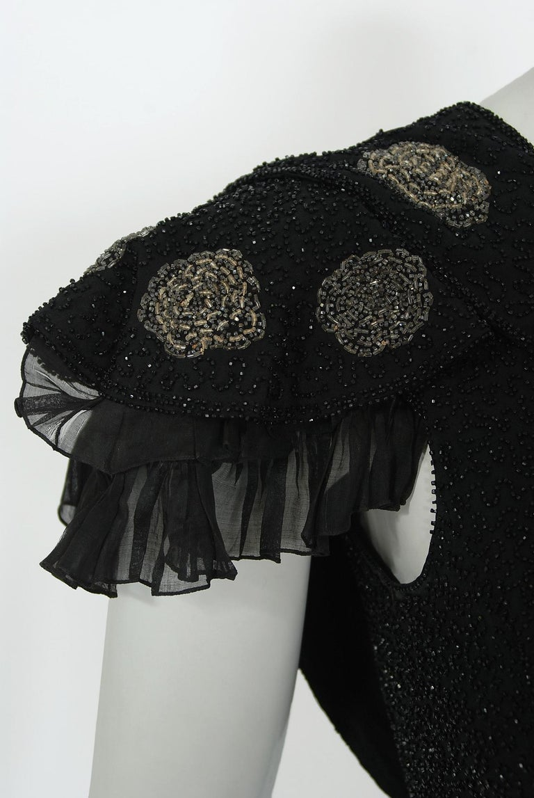Women's Vintage 1930's French Couture Beaded Black Silk Flutter Sleeve Open-Back Dress   For Sale