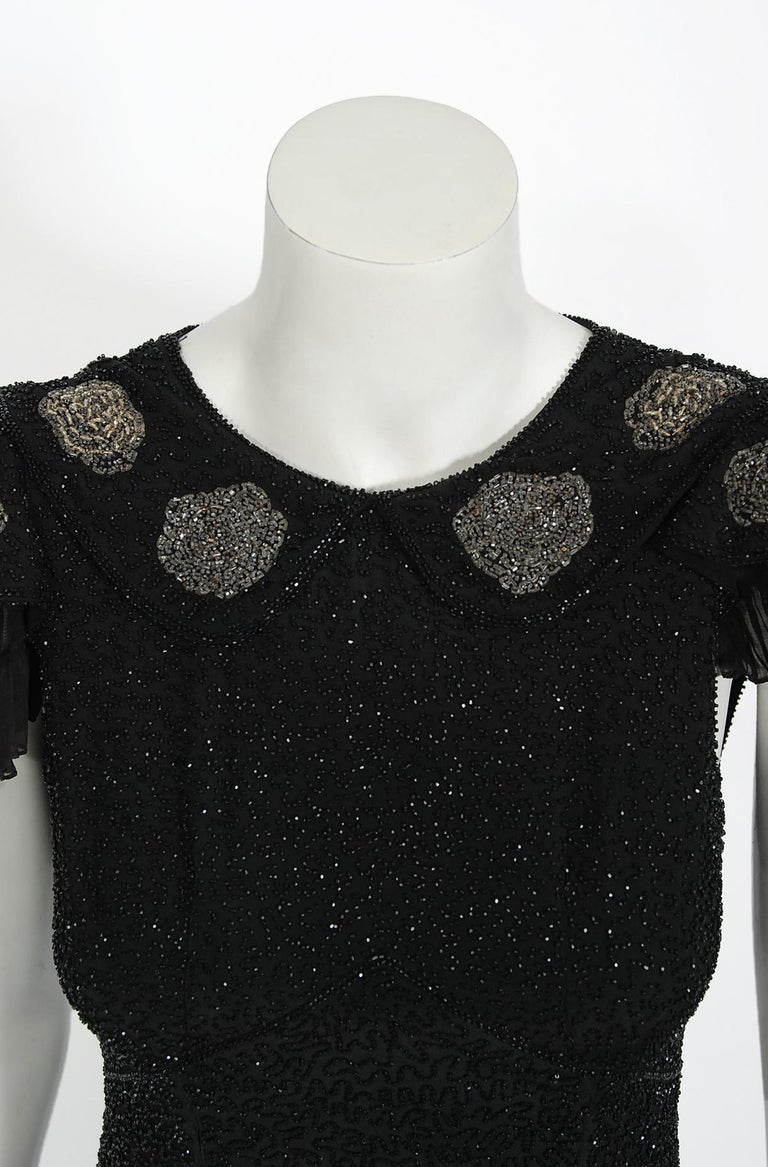 Vintage 1930's French Couture Beaded Black Silk Flutter Sleeve Open-Back Dress   For Sale 1
