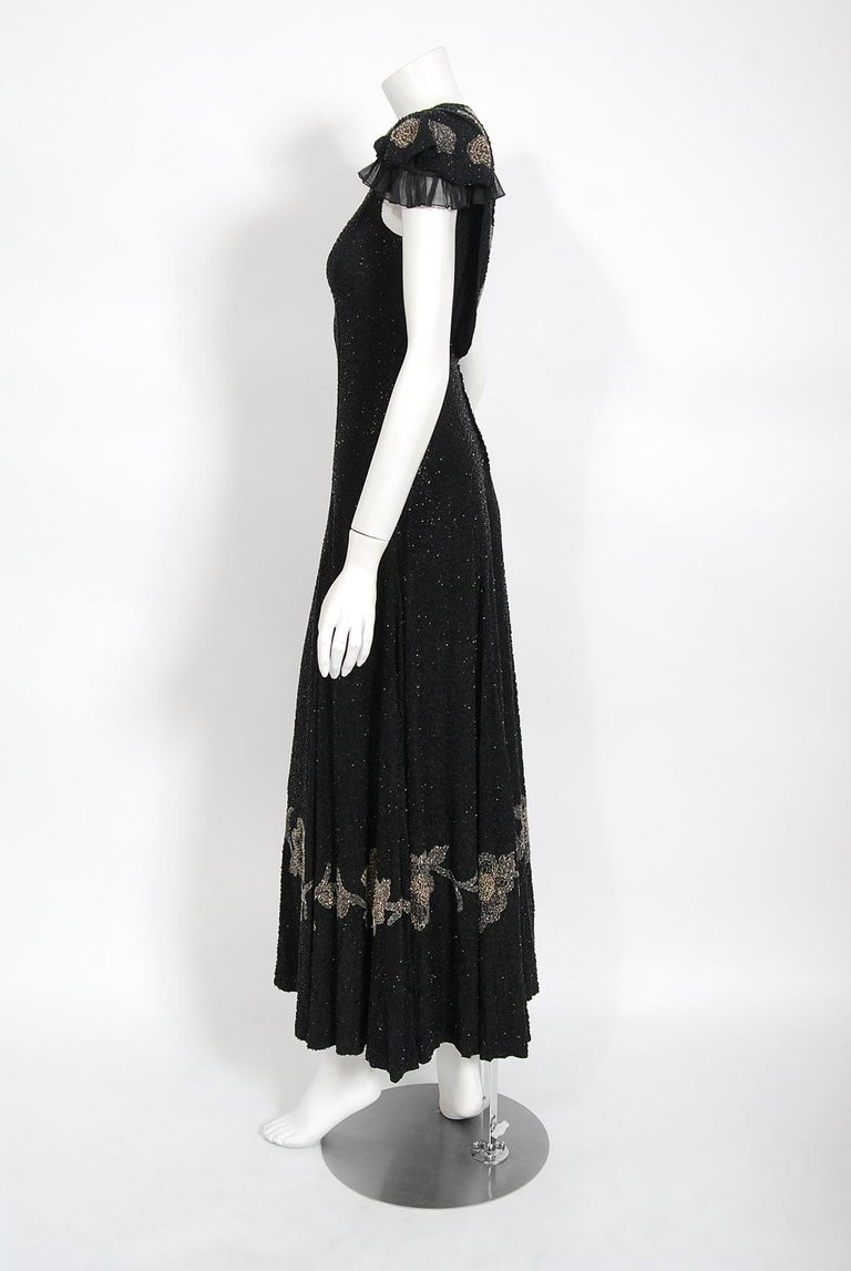 Vintage 1930's French Couture Beaded Black Silk Flutter Sleeve Open-Back Dress   For Sale 3