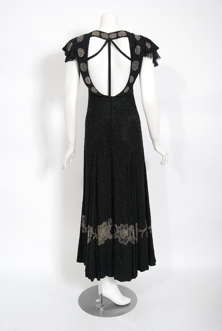 Vintage 1930's French Couture Beaded Black Silk Flutter Sleeve Open-Back Dress   For Sale 4