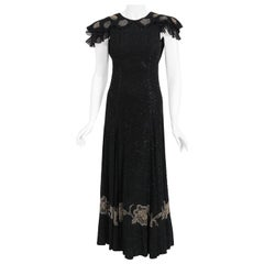 Vintage 1930's French Couture Beaded Black Silk Flutter Sleeve Open-Back Dress