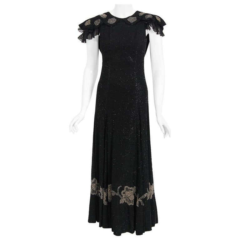 Vintage 1930's French Couture Beaded Black Silk Flutter Sleeve Open-Back Dress   For Sale