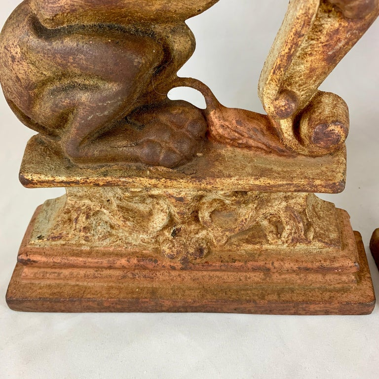 Vintage 1930s French Gilded Cast Iron Heraldic Lion Doorstops or Bookends a Pair For Sale 1