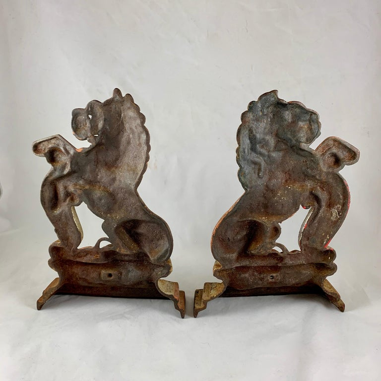 Vintage 1930s French Gilded Cast Iron Heraldic Lion Doorstops or Bookends a Pair For Sale 4