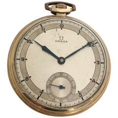Vintage 1930s Gold-Plated and Silvered Dial Omega Dress Pocket Watch 'Art Deco'