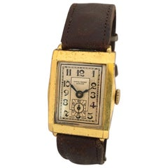 Vintage 1930s Gold-Plated Rectangular Swiss Mechanical Watch
