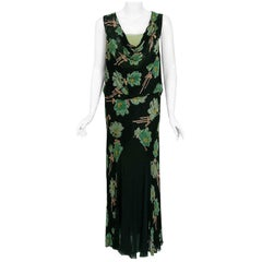 Vintage 1930's Green and Black Floral Print Lace Chiffon Bias-Cut Gown & Jacket