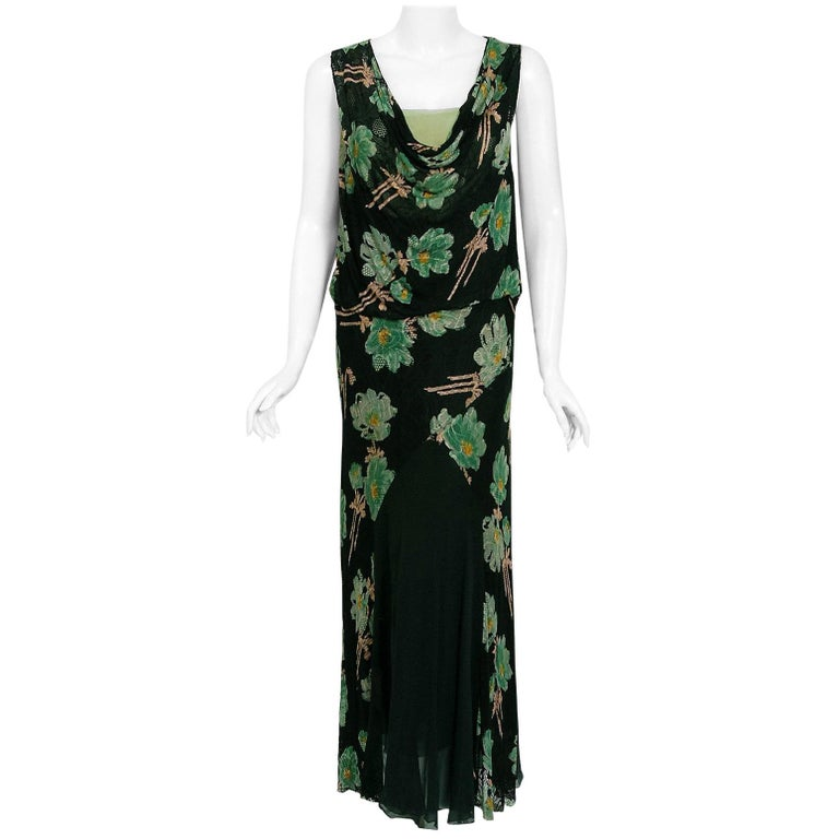 Vintage 1930's Green and Black Floral Print Lace Chiffon Bias-Cut Gown & Jacket For Sale