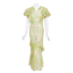 Vintage 1930's Green Pink Abstract Watercolor Sheer Organdy Ruffle Bias-Cut Gown