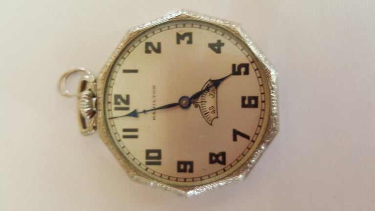 1930s Hamilton 14 Karat Gold Filled Pocket Watch, Grade 912, Rotating Second For Sale 6