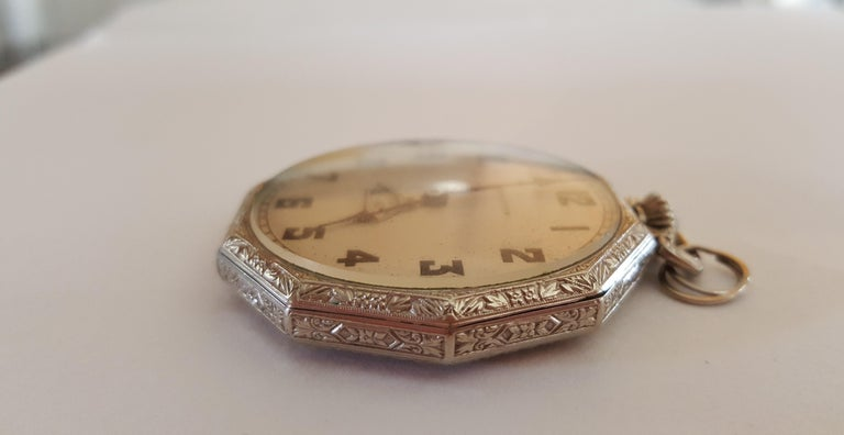 1930s Hamilton 14 Karat Gold Filled Pocket Watch, Grade 912, Rotating Second For Sale 1