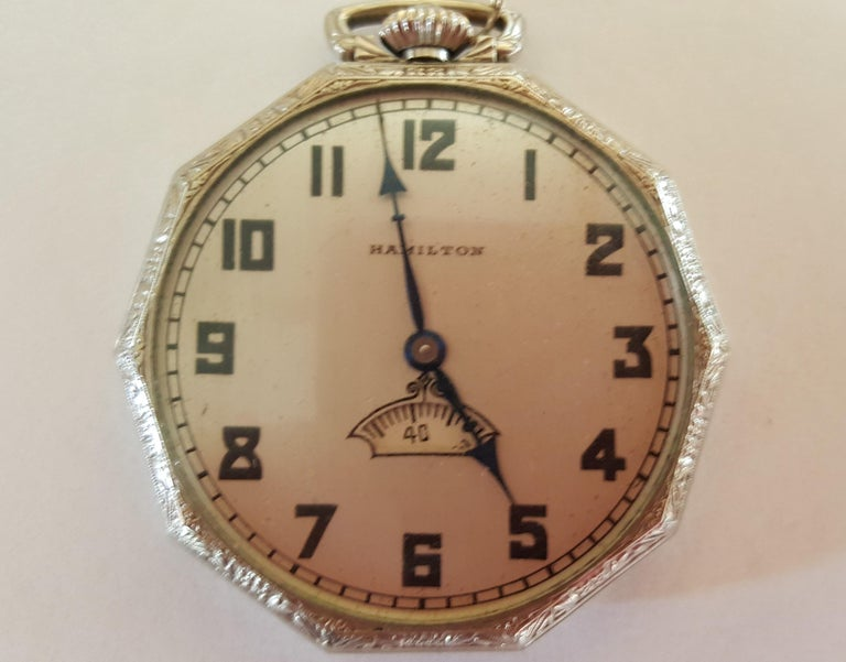 1930s Hamilton 14 Karat Gold Filled Pocket Watch, Grade 912, Rotating Second For Sale 3