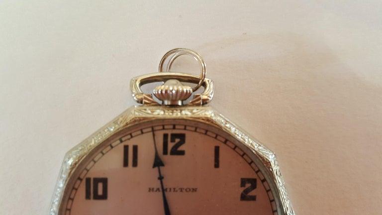 1930s Hamilton 14 Karat Gold Filled Pocket Watch, Grade 912, Rotating Second For Sale 5
