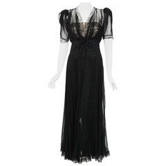 Vintage 1930's Hattie Carnegie Pleated Chiffon & Lace Puff Sleeve Bias-Cut Dress