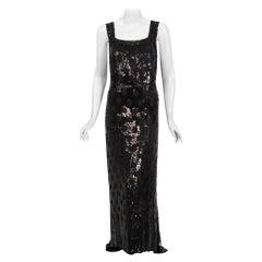 Vintage 1930's Henri Bendel Couture Purple Silk & Black Sequin Deco-Dots Gown