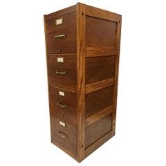 Vintage 1930s Industrial Oak 4-Drawer File Cabinet by Globe Wernicke